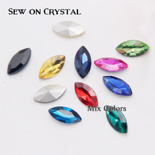 Horse Eye Shape Sewing Crystal Stone Mix colors crystal buttons Sew onrhinestone 3d stones for Wedding Dresses Decarate