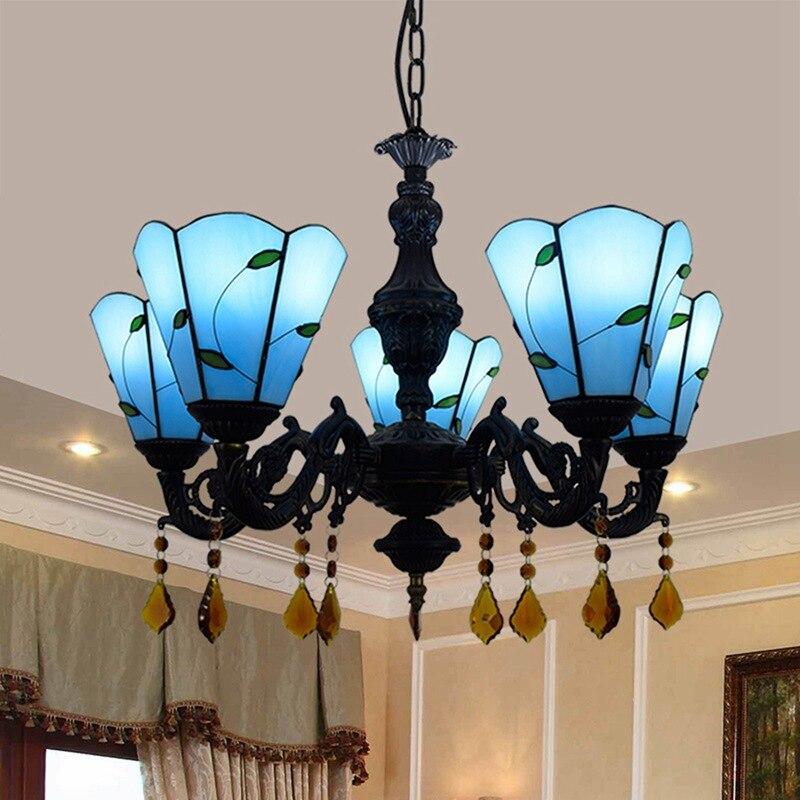 Avrupa minimalist modern Akdeniz Tiffany renkli cam oturma odası bar kristal 5 kolye lambaları