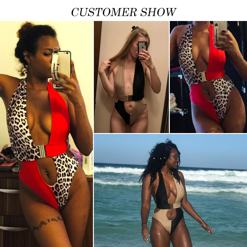 Splice buckle bikini mujer monokini Sexy female swimsuit one piece High cut bathing suit women bathers Push up swimwear 2019 new 1