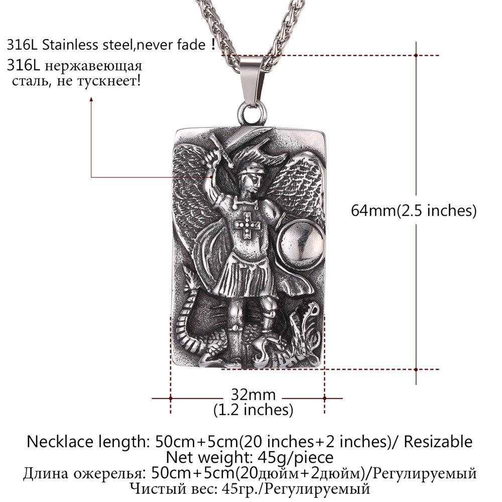 430ae7f4c43b6 Aço Inoxidável Colar de Pingente de Oração de são Miguel Arcanjo Medalha de  Ouro Cor Colar Bênção Presente Para Homens Mulheres GP2570 em Pingente  Colares ...