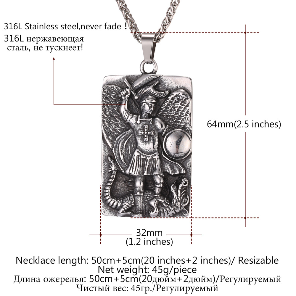Awesome st michael pendant white gold st michael pendant white gold st michael the archangel prayer pendant necklace stainless steel st michael aloadofball Gallery