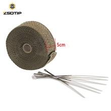 ZSDTRP 15m Titanium Temp Exhaust Heat Wrap 3 Colors Heater Resistant Downpipe Ties Car Motorcycle Tape Replacement