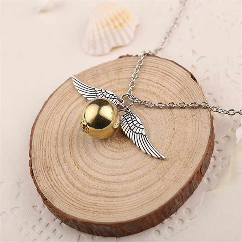 HOMOD Fashion Harry P Necklace Men Vintage Style Angel Wing Charm Golden Snitch Pendent Necklace For Men Necklace ND244