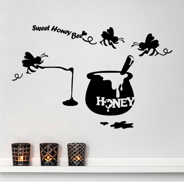 Sweet Honey Bee Creative DIY Wall Decals Removable Black Children Room Stickers Car Sticker Living