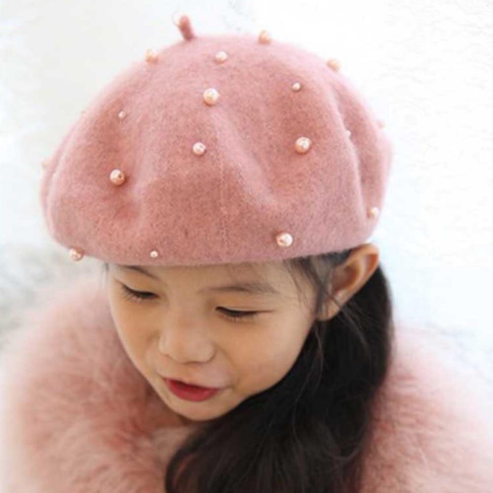 Warnen Baby Mädchen Boinas Boina Feminina Hipster Joker Perle Wolle Fühlte Baskenmütze Multicolor Maler Nette Hut Für Kinder