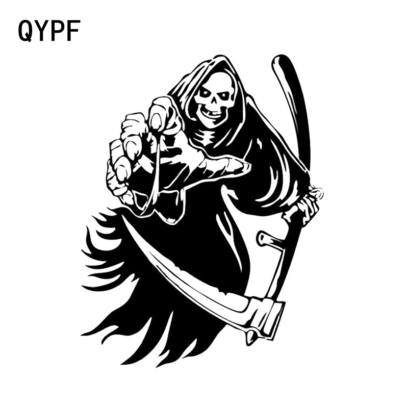 QYPF 14.2*18.3CM Coolest Car Sticker Skull Terrorist Graphic Decoration Motorcycle Vinyl C16-0023