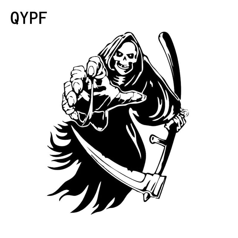 QYPF 14.2*18.3CM Coolest Car Sticker Skull Terrorist Graphic Decoration Motorcycle Vinyl C16-0023