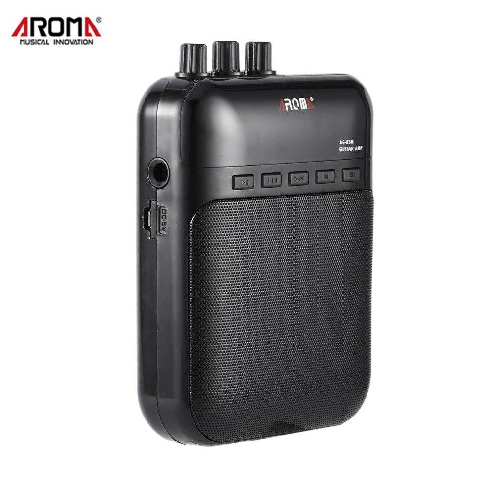 Aroma AG-03M 5 W portátil eléctrica guitarra bajo amplificador multifunción amplificador grabadora USB altavoz recargable accesorios de guitarra