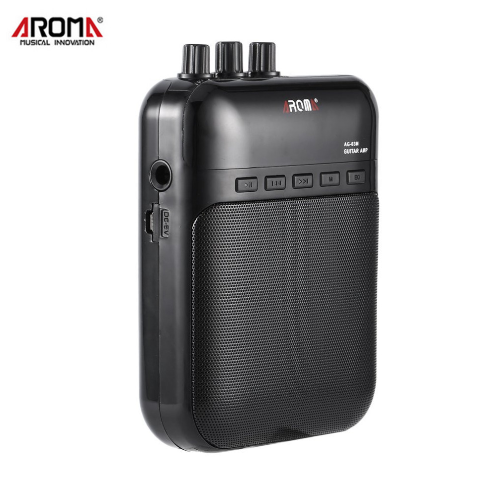 Aroma AG-03M 5W Portable Electric Guitar Bass Amp Multifunction Amplifier Recorder USB Rechargeable Speaker Guitar Accessories aroma ag 03m 5w guitar amp recorder speaker tf card slot compact portable multifunction guitar amplifier usb data line