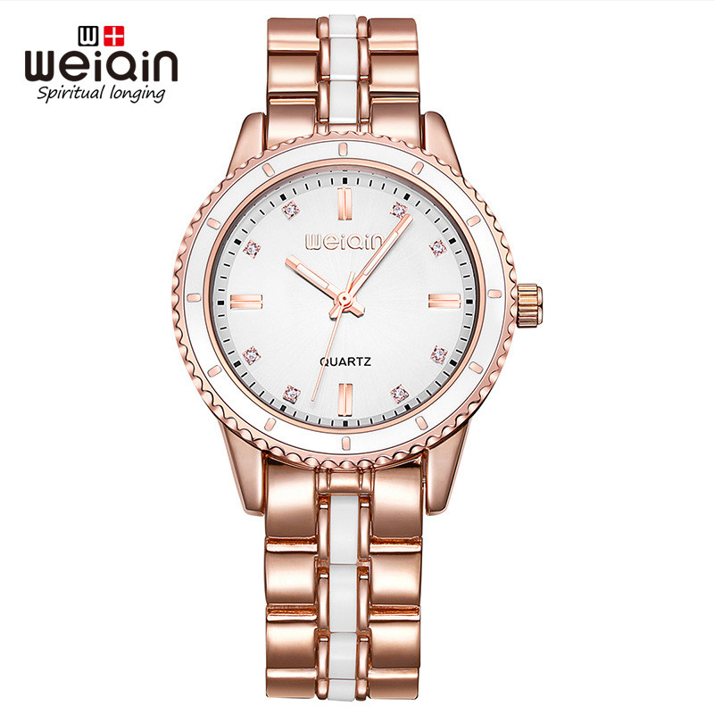 WEIQIN Gear Bezel Quartz Movement Simple Rhinestone Scale Luminous Hardlex Window Fashion Casual Women Watch Brand weiqin 1096 fashion rhinestone scale quartz watch for female