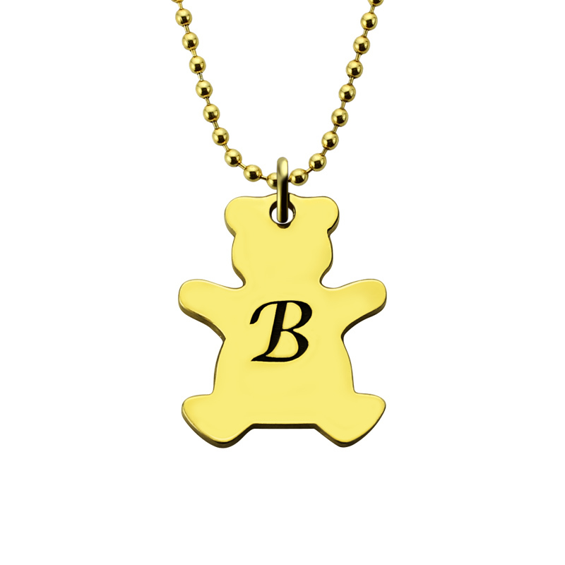 AILIN MO Bear Charm Necklace Gold Color Personalized Bear Initial Necklace Love Teddy Bear Animal Necklace Hand Stamped Jewelry цена и фото