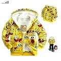 Varejo Abby Peixe 2014 Nova jaqueta de Roupas de Outono das Crianças dos desenhos animados Bob Esponja grossa Hoodies moletons casaco menina menino outerwear