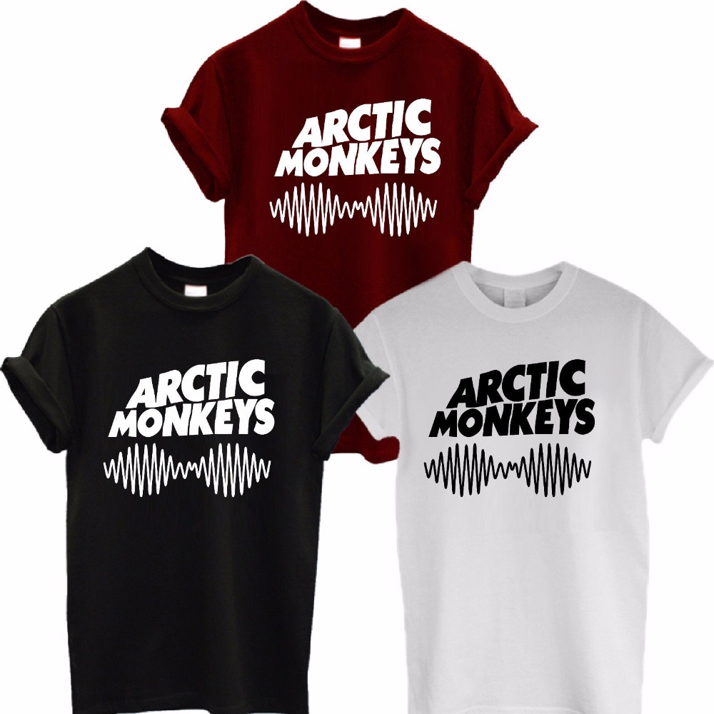 Arctic Monkeys Sound Wave T-shirt Tee Top Rock Band Concert - Album Hoge T-shirt T-shirt Tee-shirt Unisex Meer Grootte en kleur-A112