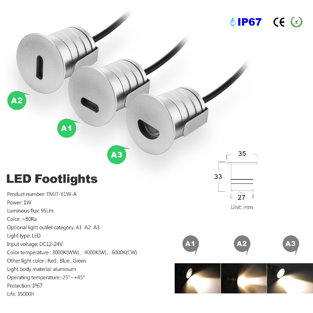 12pcs/Lots Indoor and Outdoor LED Step Stair Lighting Fixtures Waterproof Recessed in Wall deck light DC12V IP65 with CE & RoHs
