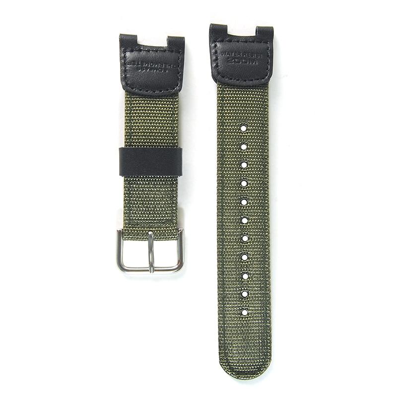 Militar verde náilon + pulseira de couro à prova dwaterproof água substituição para casio SGW-100 condução acessórios relógio esporte