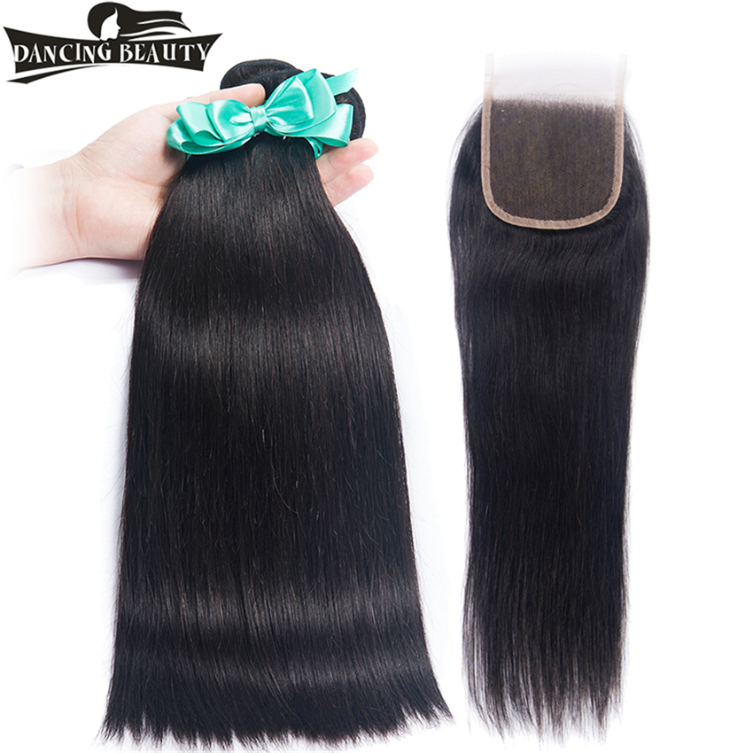 DANCING BEAUTY Human Hair Weave Bundles With Closure Brazilian Hair Straight 3 Bundles With Lace Closure Non Remy Hair Extension