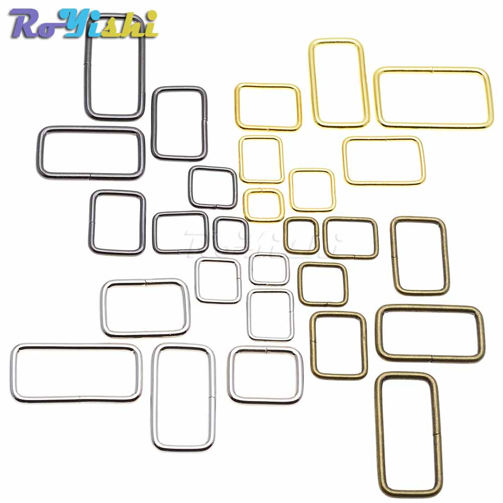 10pcs/pack Metal Wire Formed Rectangle Ring Loops for Webbing 10 12 15 20 25 32 38mm