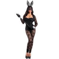 קוספליי תחפושת ארנב שחור תחרת גבירותיי הלבשה תחתונה סקסי בגד גוף + אוזניים + קייפ