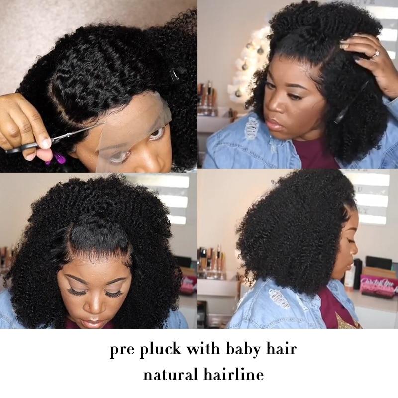 Afro crépus bouclés dentelle avant perruque 13x6 court Bob perruques de cheveux humains 250 densité U partie perruque brésilienne frontale perruque vierge 4B 4C Dolago - 5