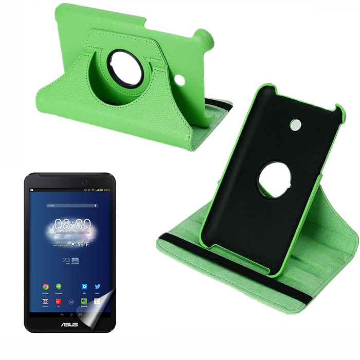 360 Degree Rotating Litchi Flip Stand PU Leather Cover Case For Asus FonePad 7 FE170CG FE170 FE7010CG K012 + Screen Protector
