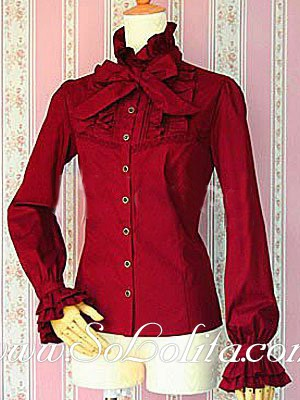 Top Sale Lolita Red Bowtie Stand Collar Long Sleeves Lady Blouse