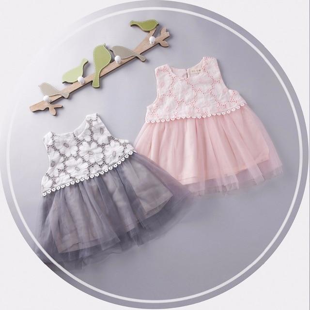 2016 лето Малышей платья Baby Girl одежда для новорожденных платья прекрасные Дети Пачки кружева платье милые девушки Крючком цветок Платье Принцессы