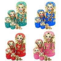 Hot Selling 7pcs New Wooden Russian Nesting Dolls Braid Girl Dolls Traditional Matryoshka Wishing Dolls Gift 88