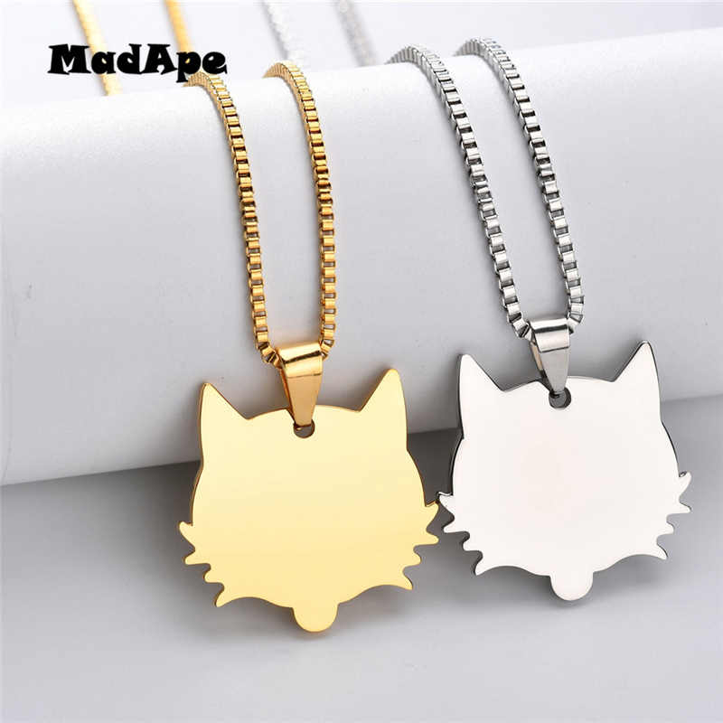 MadApe Stainless Steel Customized Necklace Animal Pendant Chain Engraved Photo Name Words Pendant Necklace DIY Engrave Pendant