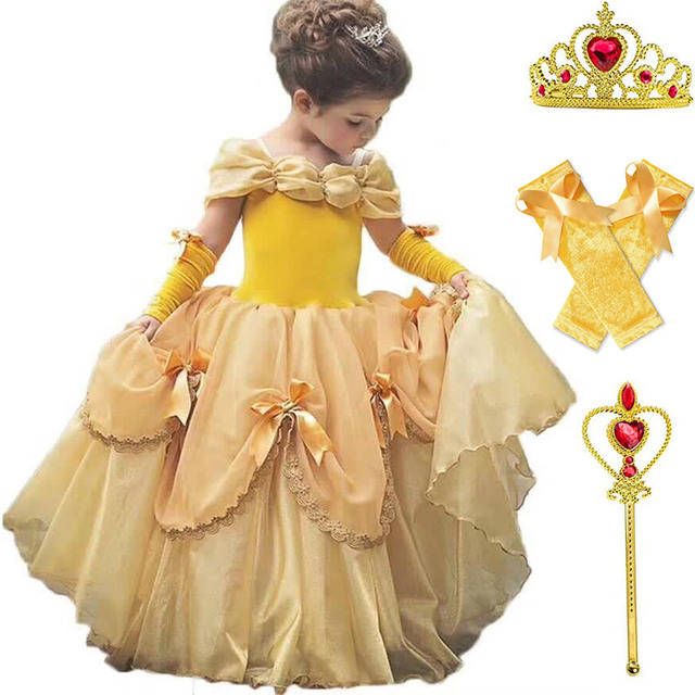 """Платье для маленьких девочек Красавица и чудовище костюм с юбкой из тюля Детское платье """"Принцесса Белль"""" вечерние платье для Хэллоуина, дня рождения, платье для девочек летнее платье-накидка"""