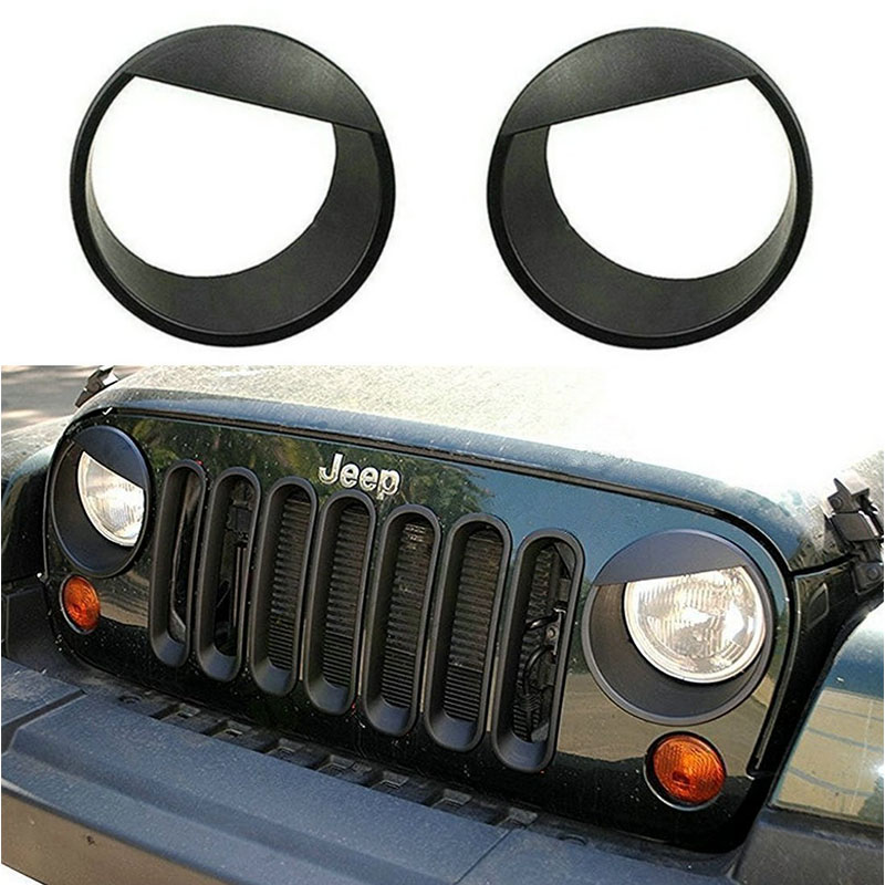 2PCS Black Bezels Front Light Headlight Angry Bird Style Trim Cover ABS For Jeep Wrangler Rubicon Sahara Jk 2007-2015 2 pcs black car styling parts front rear grab bar handles for jeep wrangler jk 2007 2017 new fashion upgraded