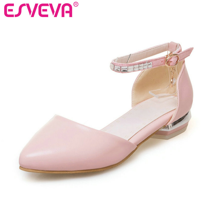 ESVEVA 2017 Ankle Strap Elegant Pink Wedding  Shoes Pointed Toe Women Pumps Soft  PU White Square Low Heel OL  Shoes Size 34-43 pu pointed toe flats with eyelet strap