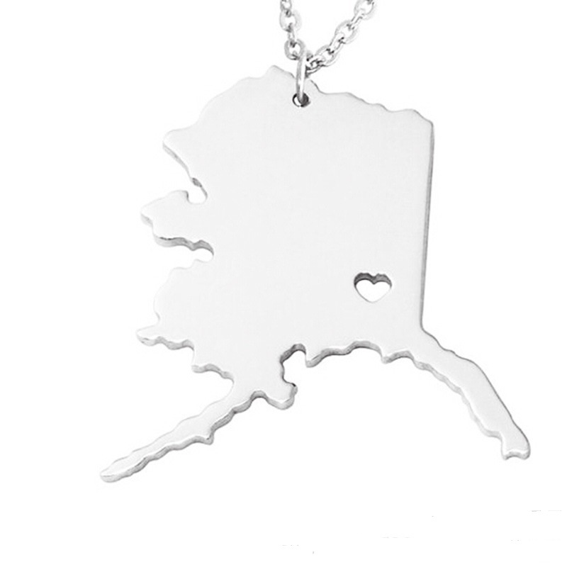 Alaska Necklace 316L Stainless Steel American State With Hollow Heart Map Necklace Statement Pendant Necklace Jewelry