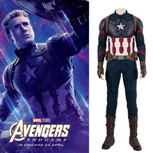 MANLUYUNXIAO Avengers 4 Endgame Costume Captain America Cosplay Jumpsuit Boots Superhero Halloween Outfit Adult