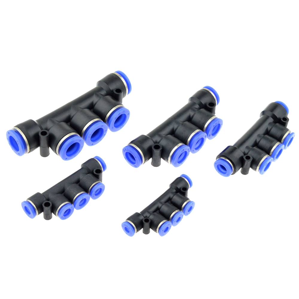 Air Pneumatic Fitting 5 Way One Touch 8mm 10mm 6mm 4mm 12mm OD Hose Tube Push In 5 Port Gas Quick Fittings Connector Coupler 10 pcs 5 32 4mm air pneumatic hose to m5 male thread mini barb fittings