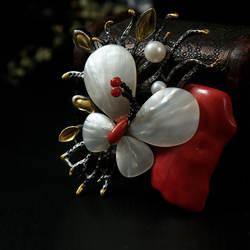 Amxiu индивидуальная брошь кулон натуральный кораллы море бамбука натуральный жемчуг рябчик Jewelry брошь-бабочка с Заколкой аксессуары