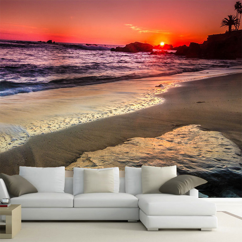 Custom 3D Mural Wallpaper Beautiful Romantic Seaside Sunset Non-Woven Bedroom Living Room Sofa Background Decorative Wallpaper