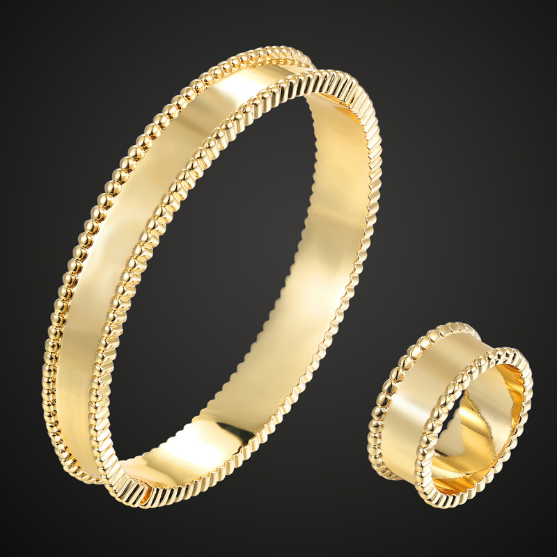 Zlxgirl jewlery Brand Copper bangle ring of wedding Jewelry sets Europe Design Gold color Bangle Bijoux sets Style Love Bangles