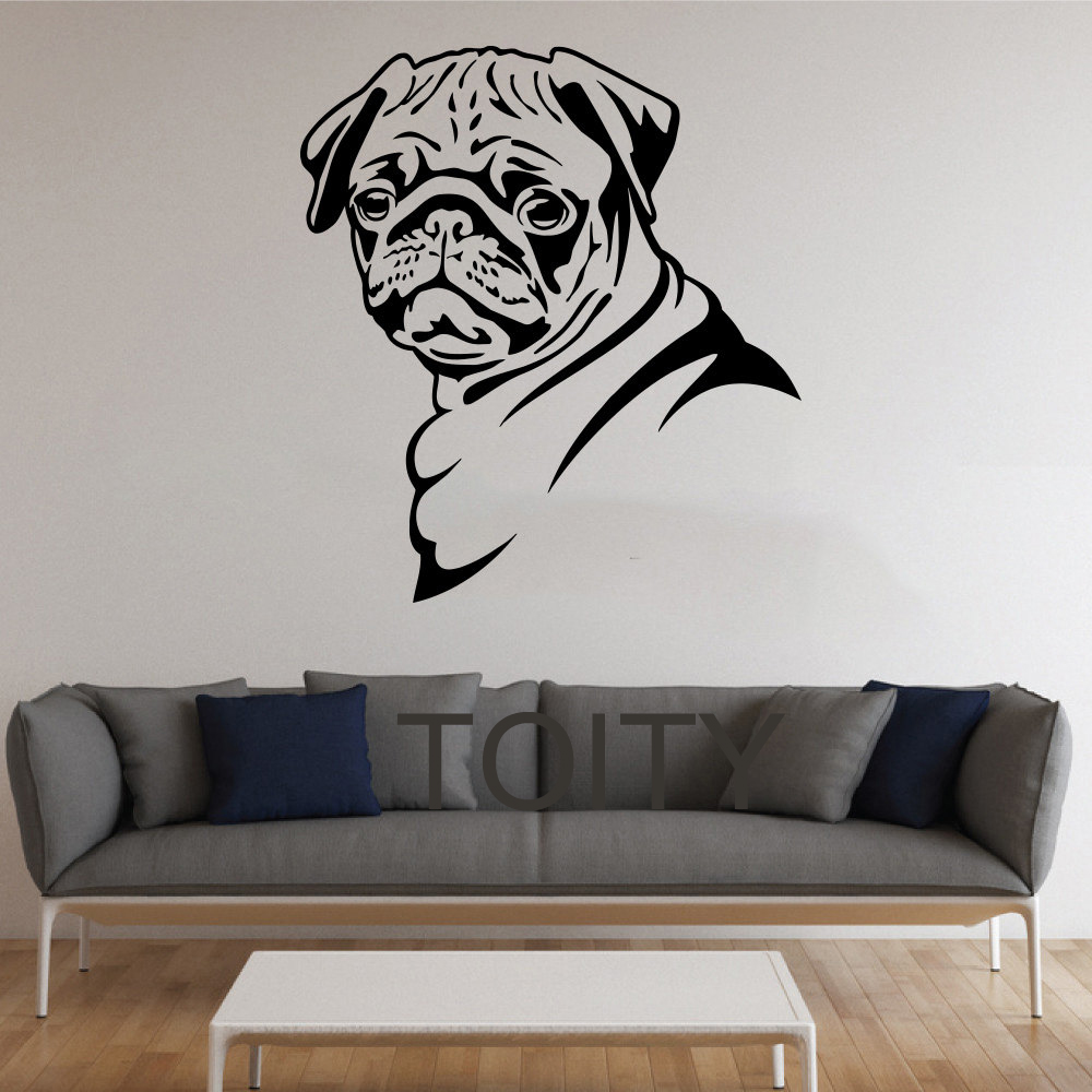 Pug dog stickers wall pet animal vinyl decals nursery for Room decor stickers