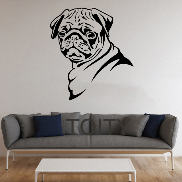bbd5f8f3cb5 Pug Dog Stickers Wall Pet Animal Vinyl Decals Nursery Decor Home Room  Interior Design Art Murals Bedroom
