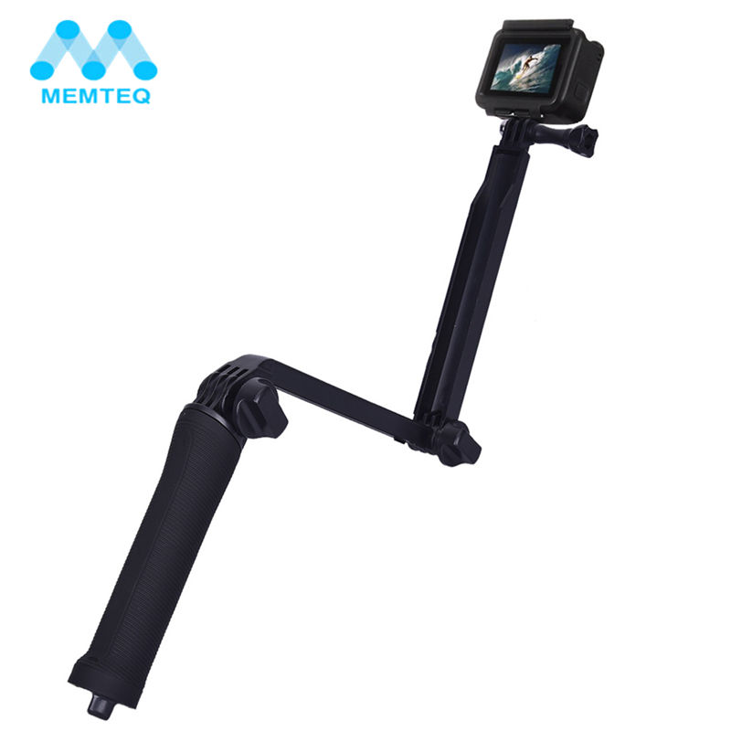 MEMTEQ Waterproof 3 Way Grip Monopod Selfie Stick For Gopro Hero 5 3 4 Session SJ4000 Xiaomi Yi 4K Tripod Kit Camera Accessories
