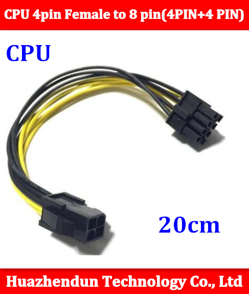 все цены на 10PCS 18AWG CPU 4pin Female to 8 pin(4PIN+4 PIN) male CPU Power Cable 20CM FREE SHIPPING онлайн
