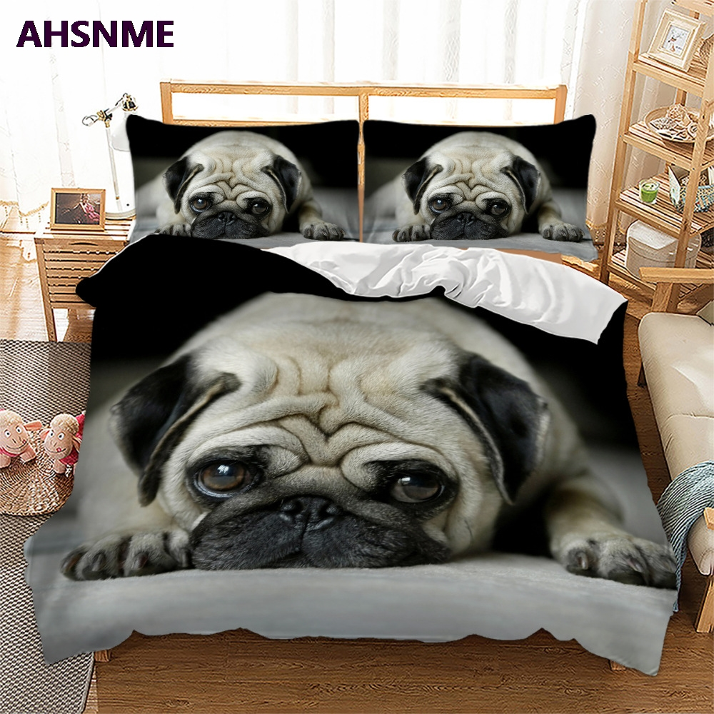 Ahsnme efeito 3d bonito capa do cão conjunto de cama verão pug rei rainha conjuntoConjuntos de cama