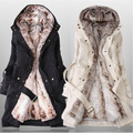 Women faux fur lining snow coats winter europe long fur coat big size XXXL cotton-padded jacket wool liner can dismantled W-046
