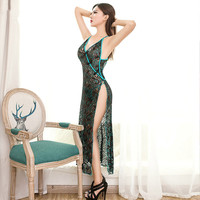 2017 Sexy Lingerie Sexy Hot Erotic Lace Embroidery Peacock Sexy Sleepwear Backless Dress With Thong Sexy