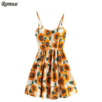 ROMWE Women Sleeveless Floral Dress Multicolor Spaghetti Strap Sunflower Print Random Lace Up Back A Line