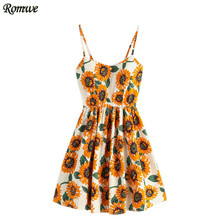 ROMWE Women Sleeveless Floral Dress Multicolor Spaghetti Strap Sunflower Print Random Lace Up Back A Line Cami Dress