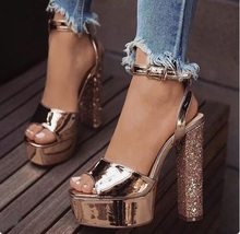 Sexy Shinny Champagne Leather Womens Square Heel Sandals Peep Toe Ankle Strap Glitter Chunky Heels Women Sandals Plus Size 10 women square heels sandals sexy rose gold patent leather ankle strap cut out peep toe chunky heel summer dress shoes plus size