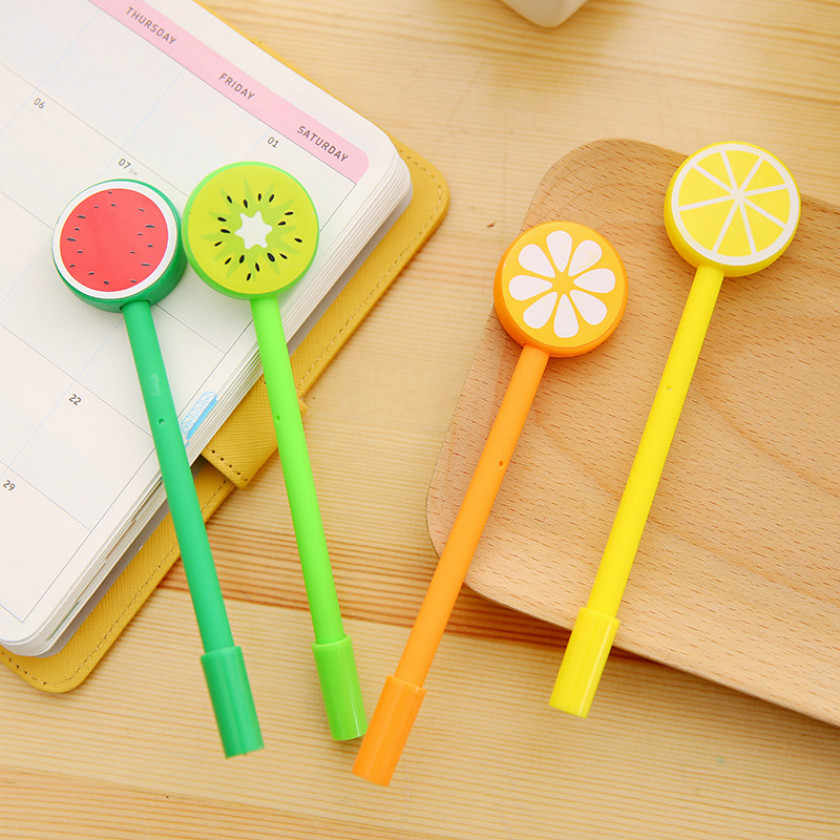 1pcs Kawaii office gel pen Creative cute Fruits pattern school stationery Supplies Black ink 0.5mm Pen refill