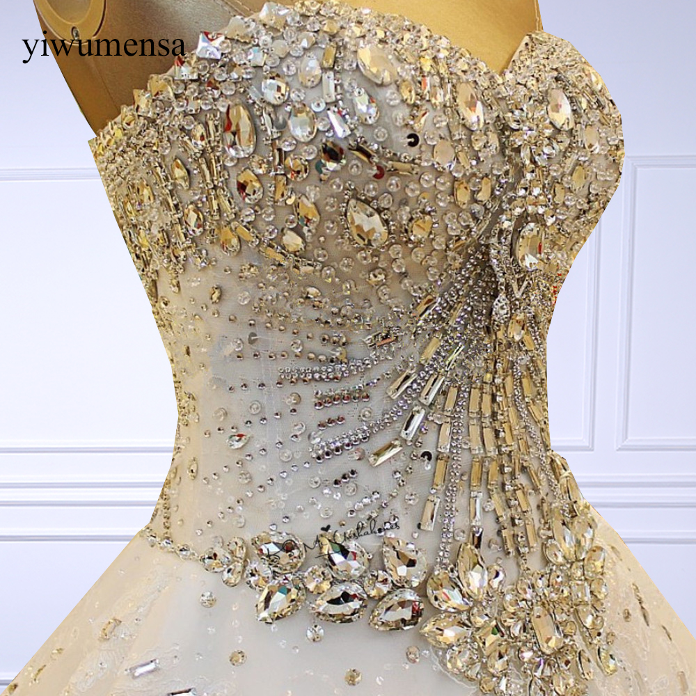 yiwumensa Luxury High grade Crystal Beaded Lace Wedding Dress Bride Gown Princess Embroidery Sweetheart Wedding dresses 2018