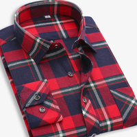 EYM Brand Flannel Plaid Shirt Men Cotton 2018 Autumn New Male Casual Long Sleeve Shirt Plus